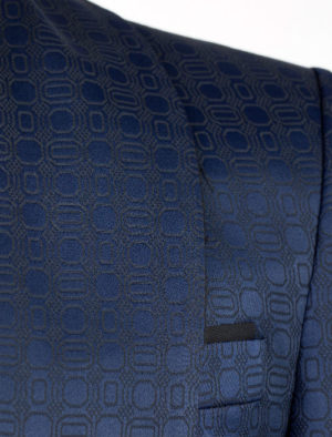 Blue pattern single breasted jacquard